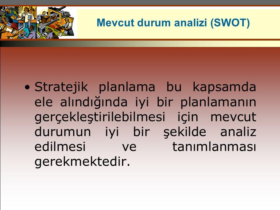 Mevcut durum analizi (SWOT) Stratejik planlama bu kapsamda ele alındığında iyi bir planlamanın gerçekleştirilebilmesi için mevcut durumun iyi bir şeki