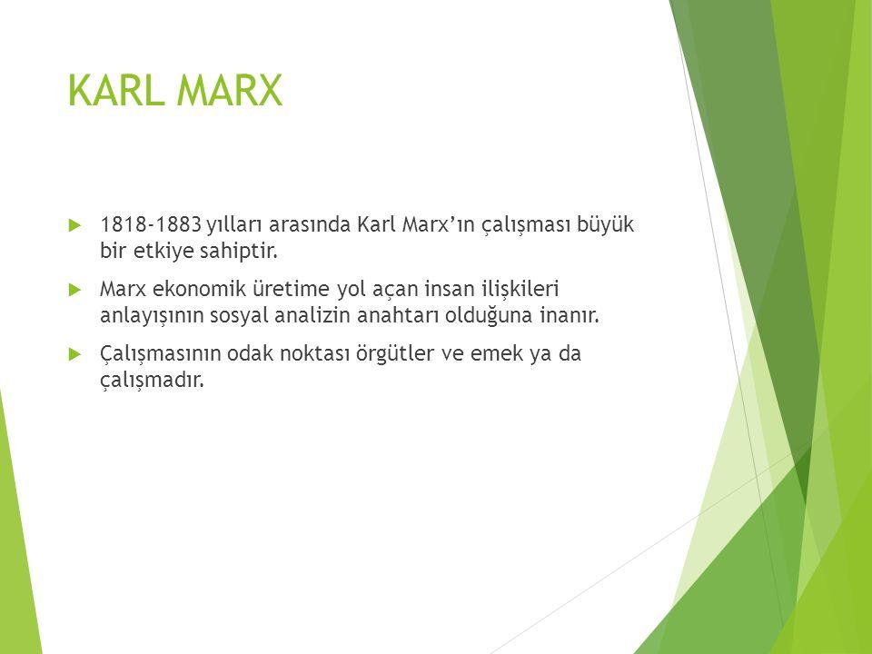 KARL MARX  1818-1883 yılları arasında Karl Marx'ın çalışması büyük bir etkiye sahiptir.  Marx ekonomik üretime yol açan insan ilişkileri anlayışının