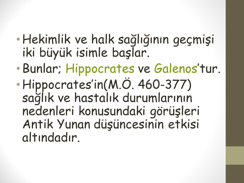 Hekimlik ve halk sağlığının geçmişi iki büyük isimle başlar. Bunlar; Hippocrates ve Galenos'tur. Hippocrates'in(M.Ö. 460-377) sağlık ve hastalık durum