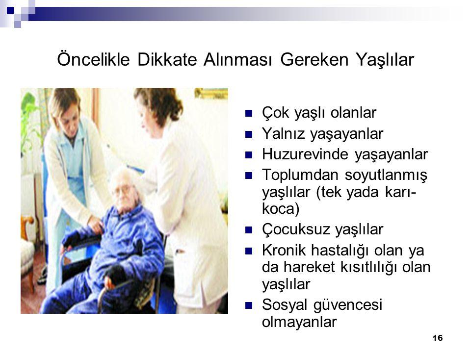 16 Öncelikle Dikkate Alınması Gereken Yaşlılar Çok yaşlı olanlar Yalnız yaşayanlar Huzurevinde yaşayanlar Toplumdan soyutlanmış yaşlılar (tek yada kar
