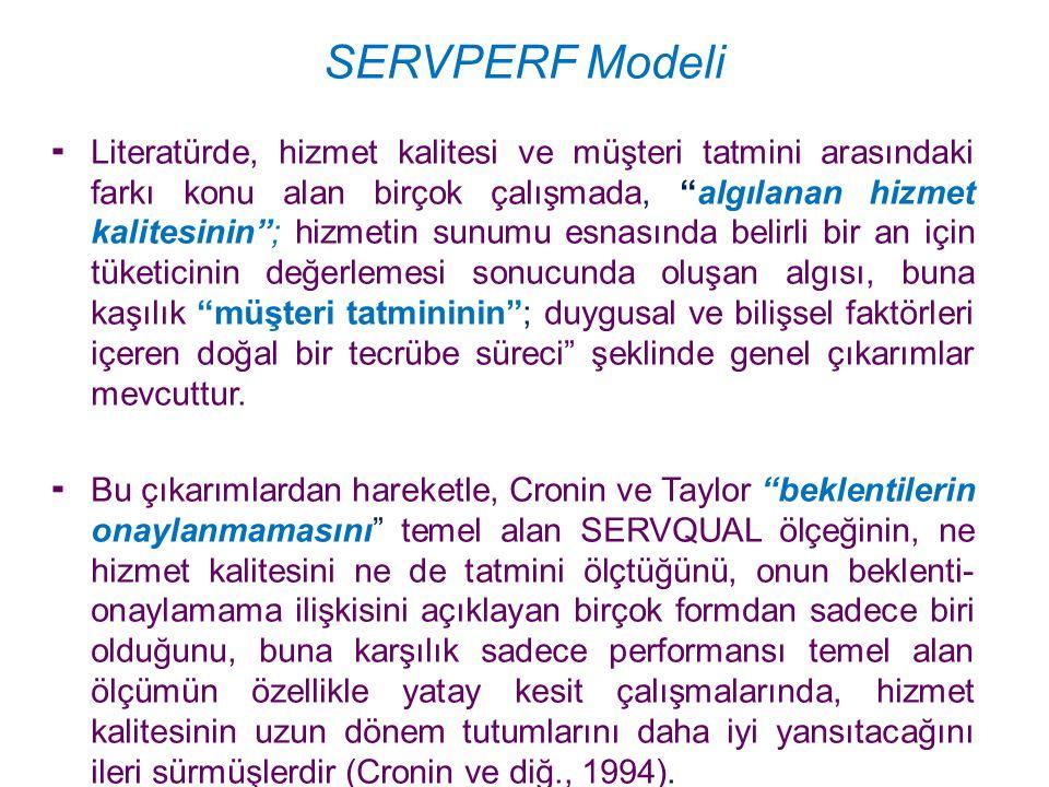 SERVPERF Modeli Cronin ve Taylor'ın geliştirdikleri, SERVQUAL modelindeki beklentiler kısmını çıkararak sadece performansın ölçüldüğü ve SERVPERF (hizmet performans ölçümü) adını verdikleri bu ölçek; hizmet kalitesi ölçümlerinde müşterilerin performans beklentileriyle algılamaları arasındaki farklara (veya boşluklara) engel olmak için, yalnızca müşterilerin hizmet sunanların performanslarını algılamalarını temel almaktadır Cronin ve diğ., 1992).