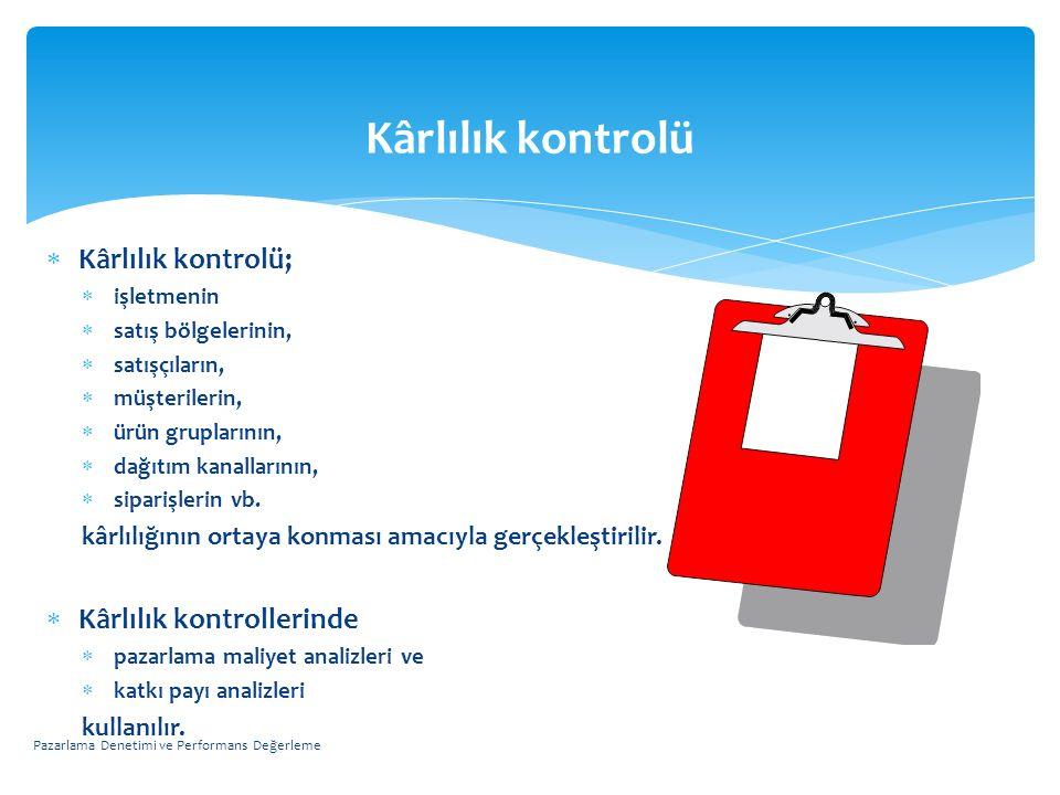 Kârlılık kontrolü  Kârlılık kontrolü;  işletmenin  satış bölgelerinin,  satışçıların,  müşterilerin,  ürün gruplarının,  dağıtım kanallarının,