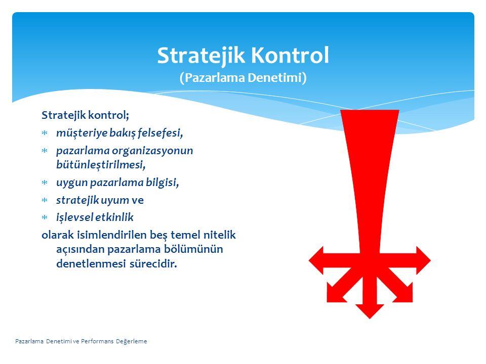 Stratejik Kontrol (Pazarlama Denetimi) Stratejik kontrol;  müşteriye bakış felsefesi,  pazarlama organizasyonun bütünleştirilmesi,  uygun pazarlama