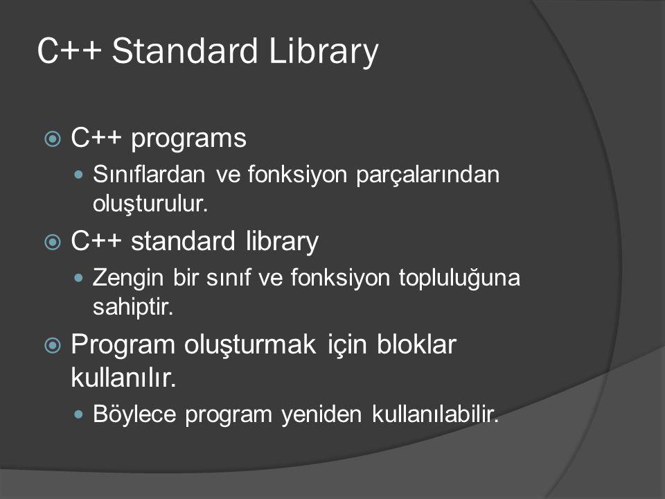C++ Standard Library  C++ programs Sınıflardan ve fonksiyon parçalarından oluşturulur.  C++ standard library Zengin bir sınıf ve fonksiyon topluluğu