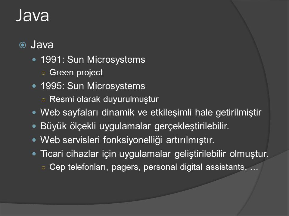 Java  Java 1991: Sun Microsystems ○ Green project 1995: Sun Microsystems ○ Resmi olarak duyurulmuştur Web sayfaları dinamik ve etkileşimli hale getir
