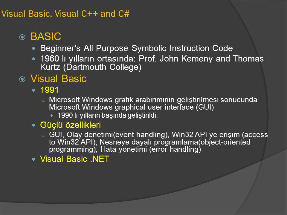 Visual Basic, Visual C++ and C#  BASIC Beginner's All-Purpose Symbolic Instruction Code 1960 lı yılların ortasında: Prof. John Kemeny and Thomas Kurt