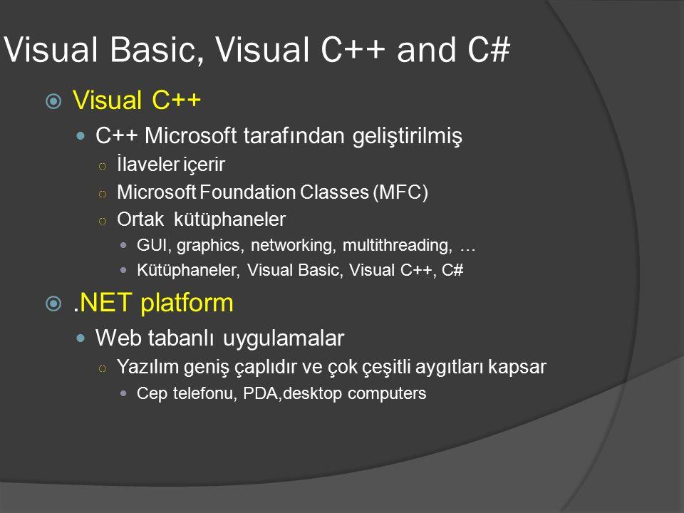 Visual Basic, Visual C++ and C#  Visual C++ C++ Microsoft tarafından geliştirilmiş ○ İlaveler içerir ○ Microsoft Foundation Classes (MFC) ○ Ortak küt