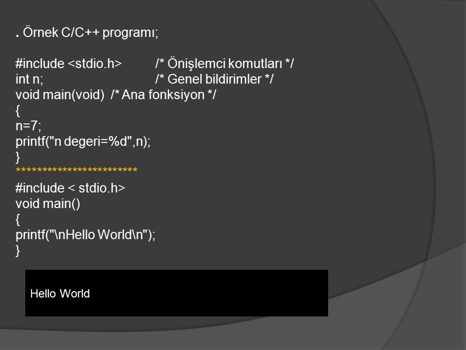 . Örnek C/C++ programı; #include /* Önişlemci komutları */ int n;/* Genel bildirimler */ void main(void) /* Ana fonksiyon */ { n=7; printf(