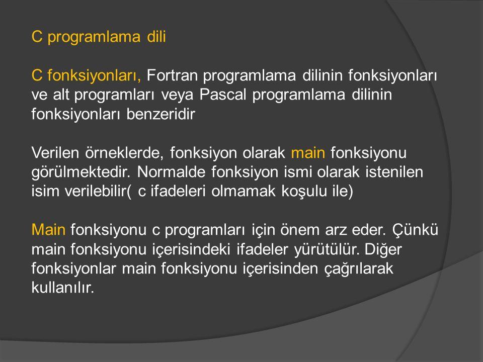 C programlama dili C fonksiyonları, Fortran programlama dilinin fonksiyonları ve alt programları veya Pascal programlama dilinin fonksiyonları benzeri