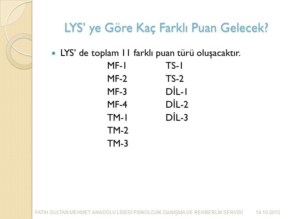 LYS' ye Göre Kaç Farklı Puan Gelecek. LYS' de toplam 11 farklı puan türü oluşacaktır.