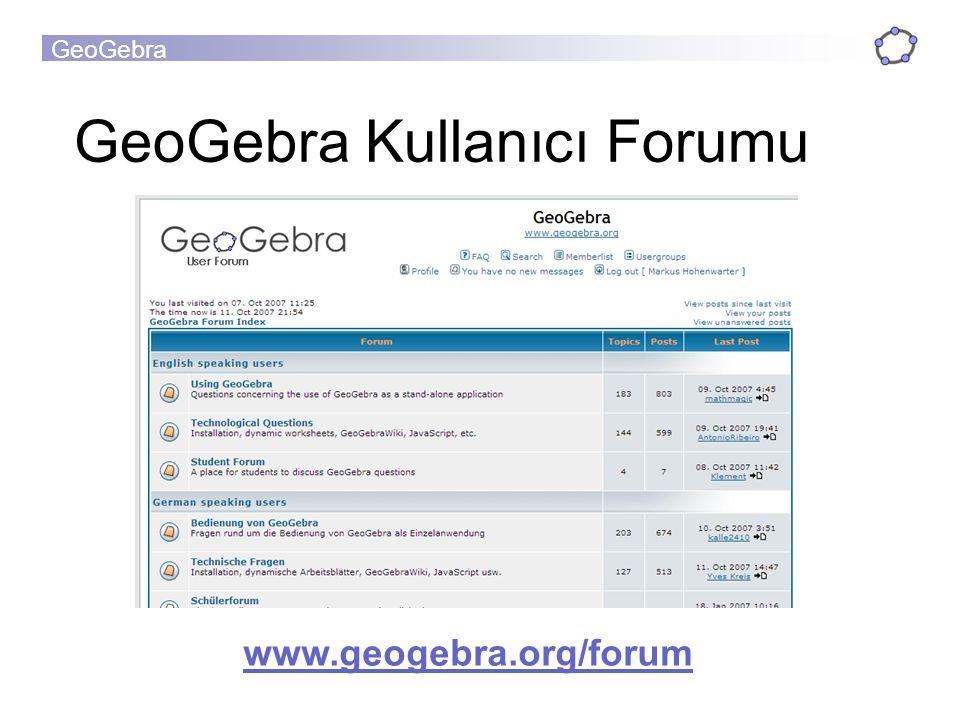 GeoGebra GeoGebra Kullanıcı Forumu www.geogebra.org/forum