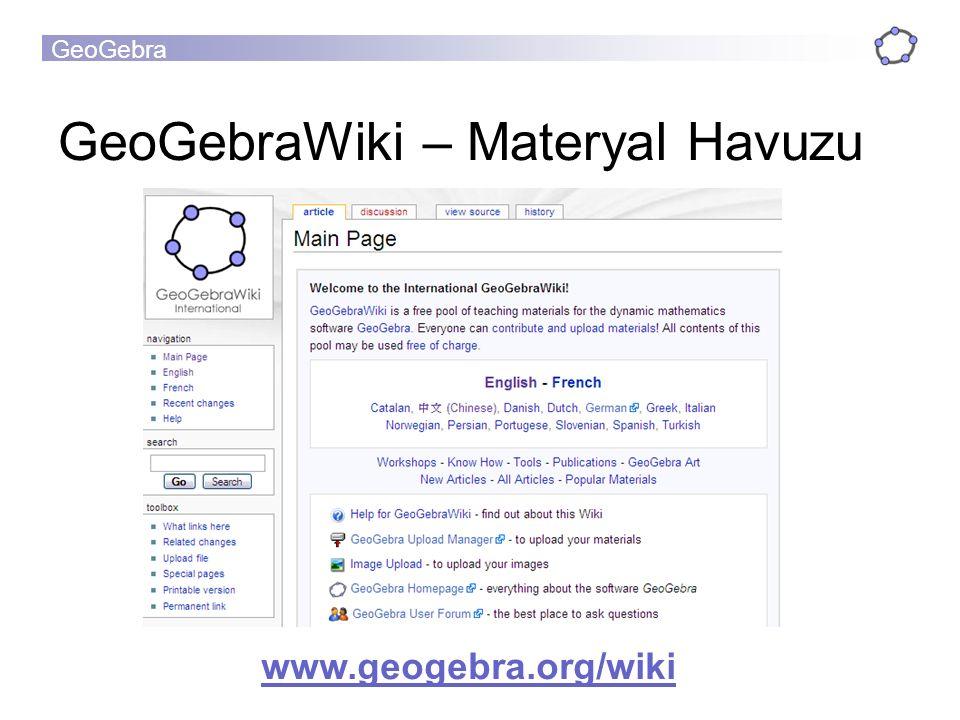 GeoGebra GeoGebraWiki – Materyal Havuzu www.geogebra.org/wiki