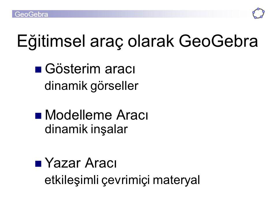GeoGebra Eğitimsel araç olarak GeoGebra Gösterim aracı dinamik görseller Modelleme Aracı dinamik inşalar Yazar Aracı etkileşimli çevrimiçi materyal