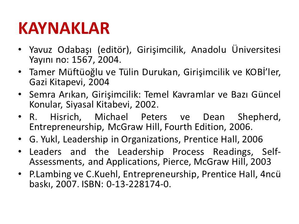 KAYNAKLAR Yavuz Odabaşı (editör), Girişimcilik, Anadolu Üniversitesi Yayını no: 1567, 2004.