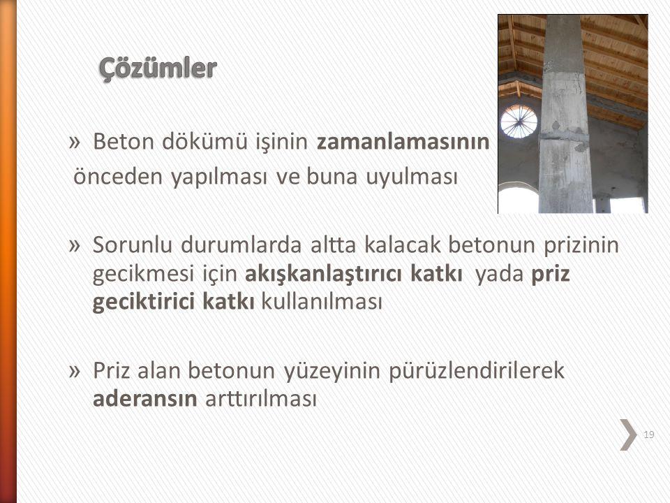 » Beton dökümü işinin zamanlamasının önceden yapılması ve buna uyulması » Sorunlu durumlarda altta kalacak betonun prizinin gecikmesi için akışkanlaşt