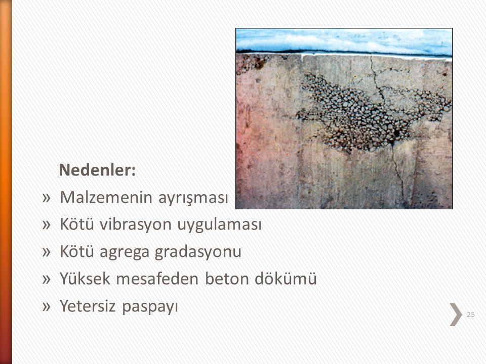 Nedenler: » Malzemenin ayrışması » Kötü vibrasyon uygulaması » Kötü agrega gradasyonu » Yüksek mesafeden beton dökümü » Yetersiz paspayı 25