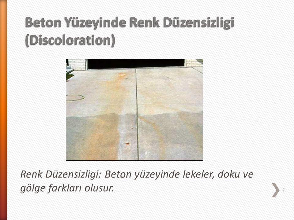 Renk Düzensizligi: Beton yüzeyinde lekeler, doku ve gölge farkları olusur. 7