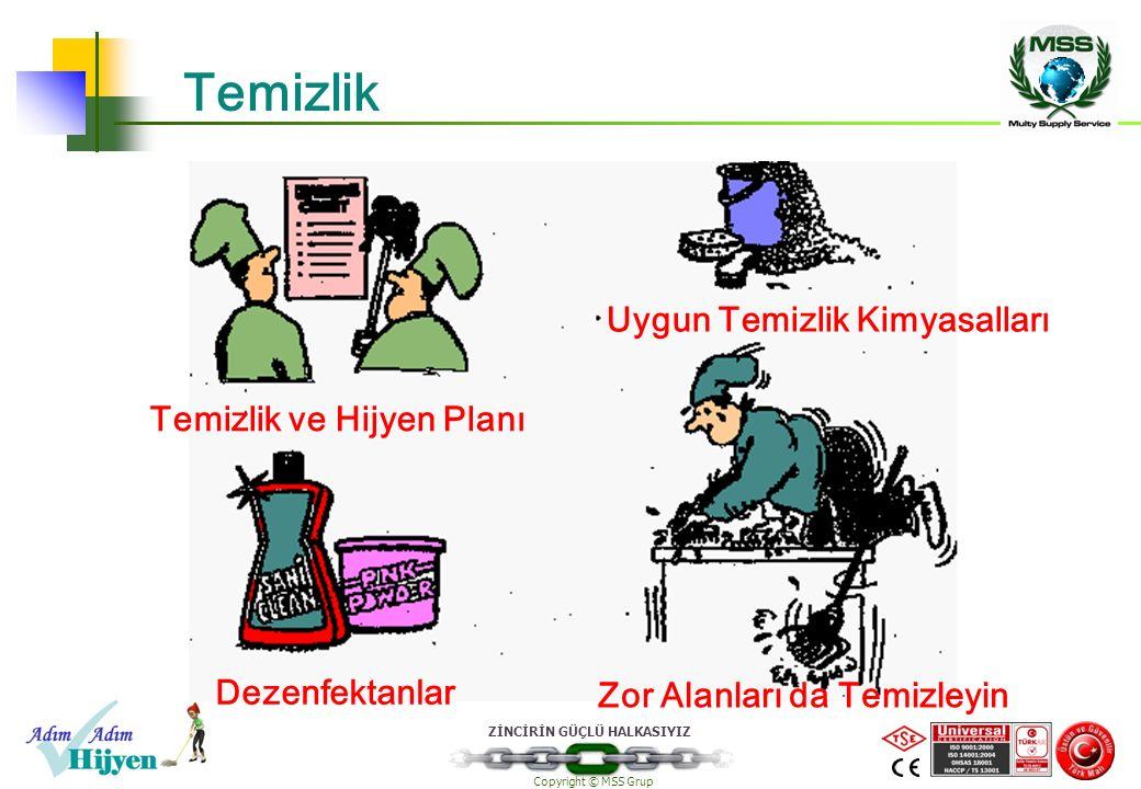 ZİNCİRİN GÜÇLÜ HALKASIYIZ Copyright © MSS Grup Temizlik Uygun Temizlik Kimyasalları Dezenfektanlar Zor Alanları da Temizleyin Temizlik ve Hijyen Planı