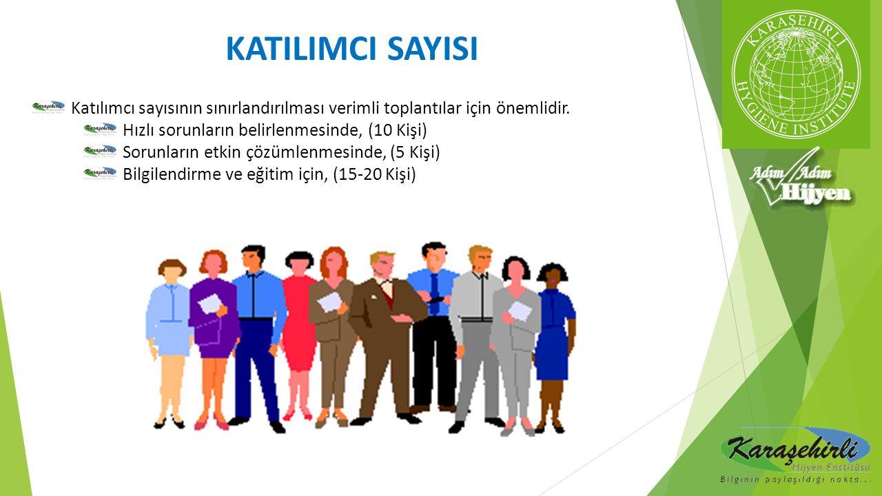 Katılımcı sayısının sınırlandırılması verimli toplantılar için önemlidir. Hızlı sorunların belirlenmesinde, (10 Kişi) Sorunların etkin çözümlenmesinde