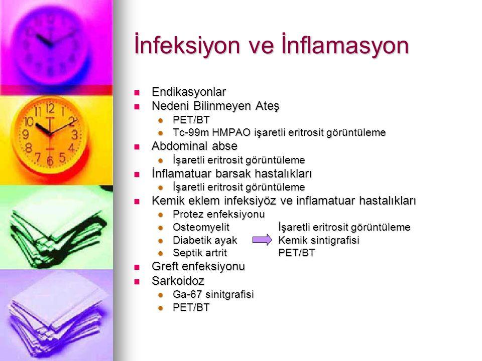 İnfeksiyon ve İnflamasyon Endikasyonlar Endikasyonlar Nedeni Bilinmeyen Ateş Nedeni Bilinmeyen Ateş PET/BT PET/BT Tc-99m HMPAO işaretli eritrosit görü
