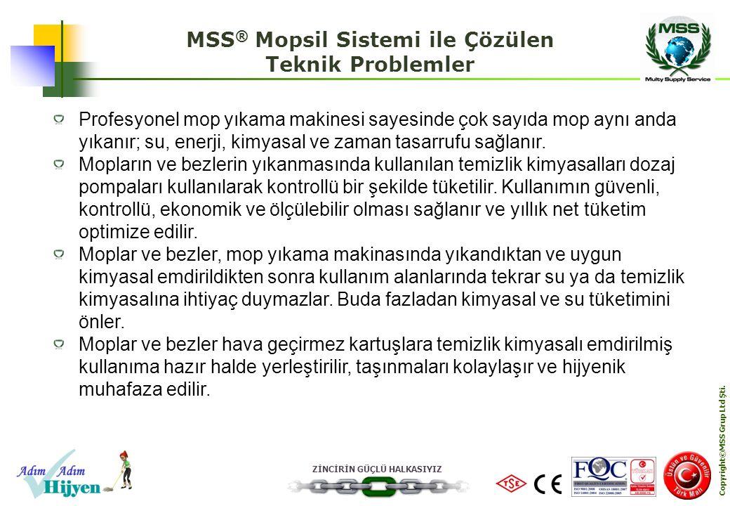 ZİNCİRİN GÜÇLÜ HALKASIYIZ Copyright©MSS Grup Ltd Şti. MSS ® Mopsil Sistemi ile Çözülen Teknik Problemler Profesyonel mop yıkama makinesi sayesinde çok