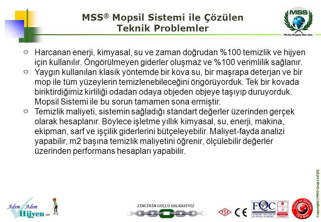 ZİNCİRİN GÜÇLÜ HALKASIYIZ Copyright©MSS Grup Ltd Şti. MSS ® Mopsil Sistemi ile Çözülen Teknik Problemler Harcanan enerji, kimyasal, su ve zaman doğrud