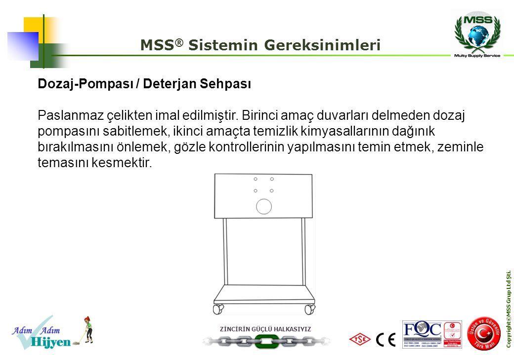 ZİNCİRİN GÜÇLÜ HALKASIYIZ Copyright©MSS Grup Ltd Şti. MSS ® Sistemin Gereksinimleri Dozaj-Pompası / Deterjan Sehpası Paslanmaz çelikten imal edilmişti