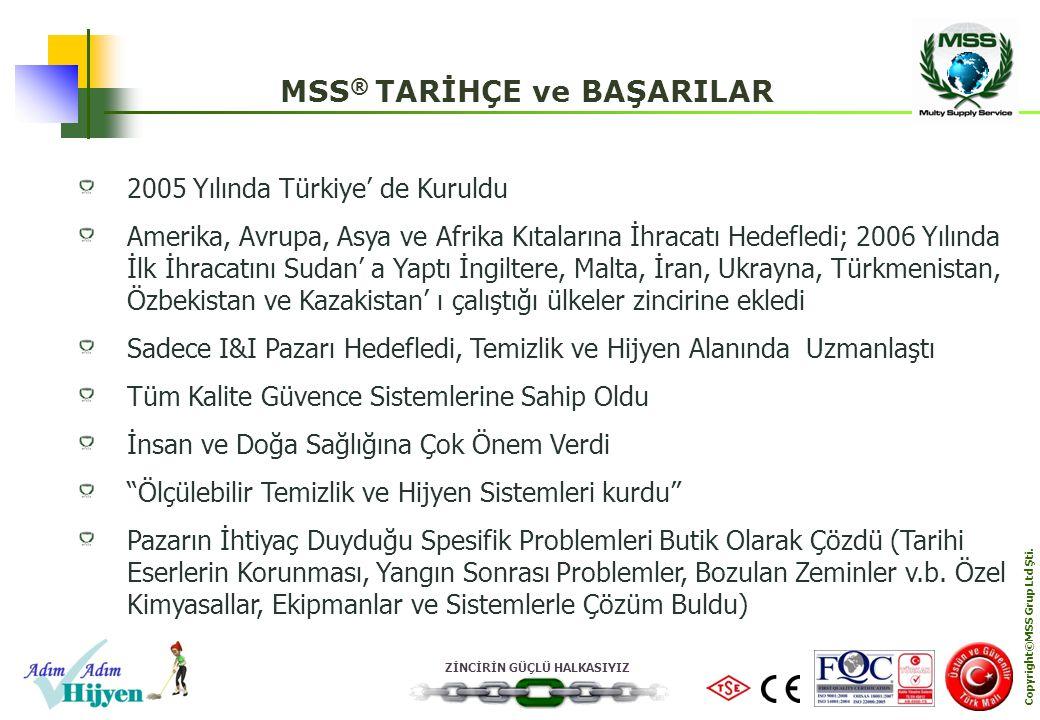ZİNCİRİN GÜÇLÜ HALKASIYIZ Copyright©MSS Grup Ltd Şti. 2005 Yılında Türkiye' de Kuruldu Amerika, Avrupa, Asya ve Afrika Kıtalarına İhracatı Hedefledi;