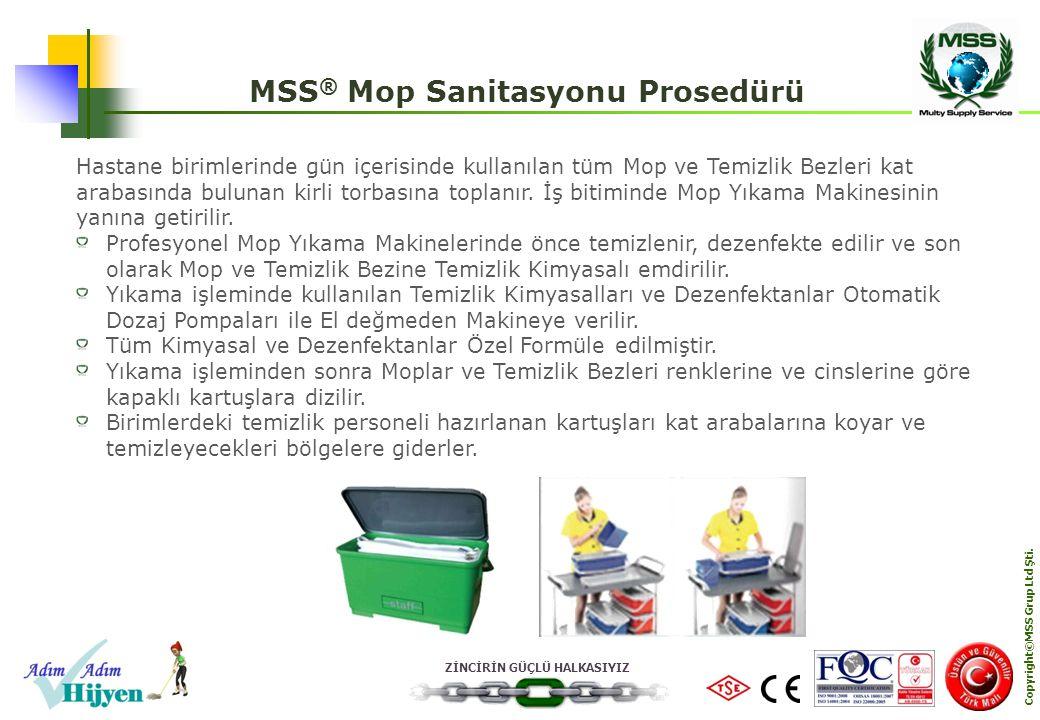 ZİNCİRİN GÜÇLÜ HALKASIYIZ Copyright©MSS Grup Ltd Şti. MSS ® Mop Sanitasyonu Prosedürü Hastane birimlerinde gün içerisinde kullanılan tüm Mop ve Temizl