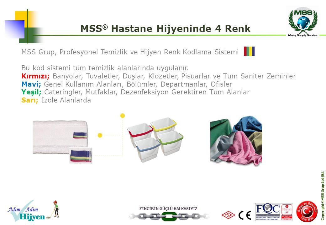 ZİNCİRİN GÜÇLÜ HALKASIYIZ Copyright©MSS Grup Ltd Şti. MSS ® Hastane Hijyeninde 4 Renk MSS Grup, Profesyonel Temizlik ve Hijyen Renk Kodlama Sistemi Bu