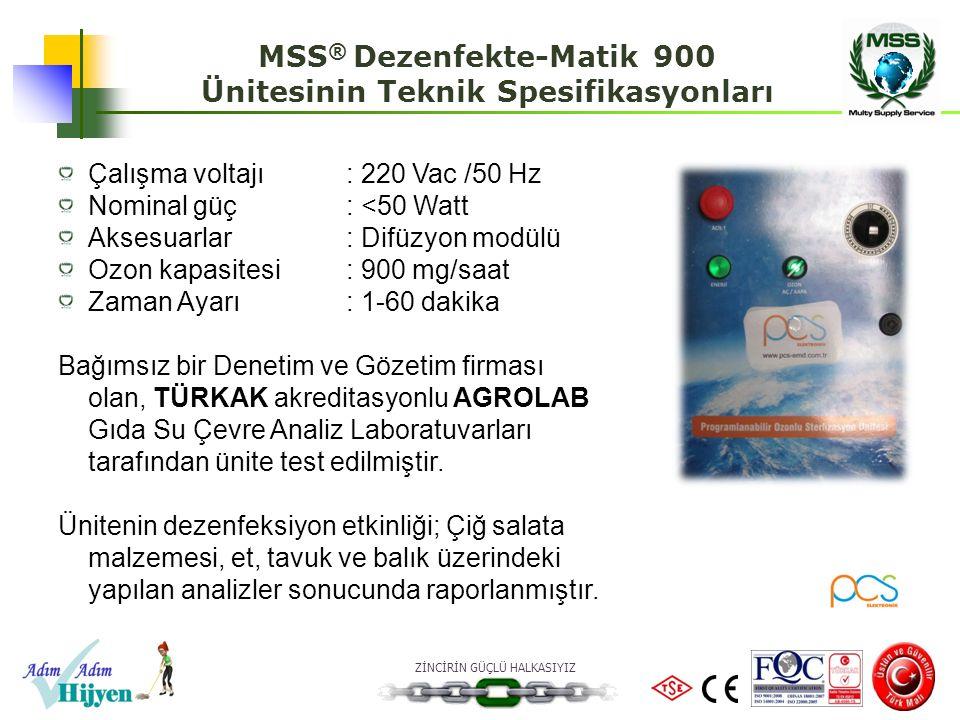 ZİNCİRİN GÜÇLÜ HALKASIYIZ Çalışma voltajı: 220 Vac /50 Hz Nominal güç: <50 Watt Aksesuarlar: Difüzyon modülü Ozon kapasitesi: 900 mg/saat Zaman Ayarı: