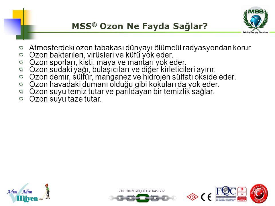 ZİNCİRİN GÜÇLÜ HALKASIYIZ MSS ® Multi Ozon-Matik 900 Ünitesinin Teknik Spesifikasyonları Çalışma voltajı: 220 Vac /50 Hz Nominal güç: <50 Watt Ozon kapasitesi: 900 mg/saat Zaman Ayarı: 1-60 dakika Aksesuarlar: Opsiyoneldir Difüzör (Su ve Sebze Dezenfeksiyonu) Sızdırmaz Torba (Yatak ve Tekstil Dezenfeksiyonu) Bağımsız bir Denetim ve Gözetim firması olan, TÜRKAK akreditasyonlu AGROLAB Gıda Su Çevre Analiz Laboratuvarları tarafından ünite test edilmiştir.