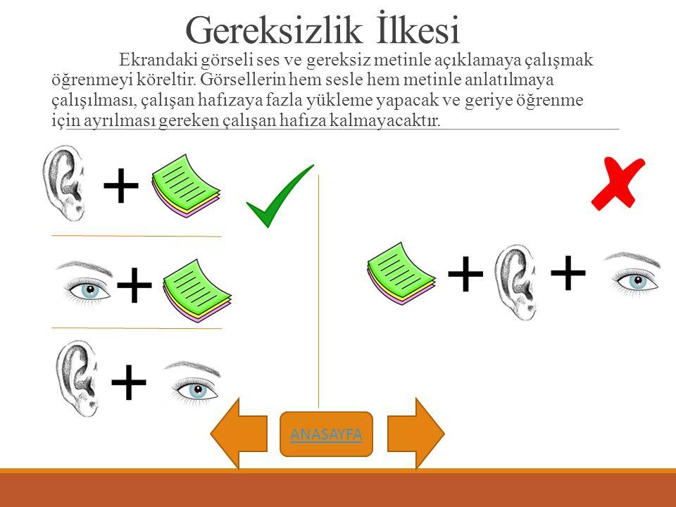 Gereksizlik İlkesi Ekrandaki görseli ses ve gereksiz metinle açıklamaya çalışmak öğrenmeyi köreltir. Görsellerin hem sesle hem metinle anlatılmaya çal
