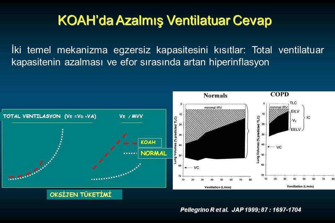KOAH'da Azalmış Ventilatuar Cevap İki temel mekanizma egzersiz kapasitesini kısıtlar: Total ventilatuar kapasitenin azalması ve efor sırasında artan hiperinflasyon TOTAL VENTILASYON (V E =V D + VA)V E / MVV OKSİJEN TÜKETİMİ KOAH NORMAL Pellegrino R et al.