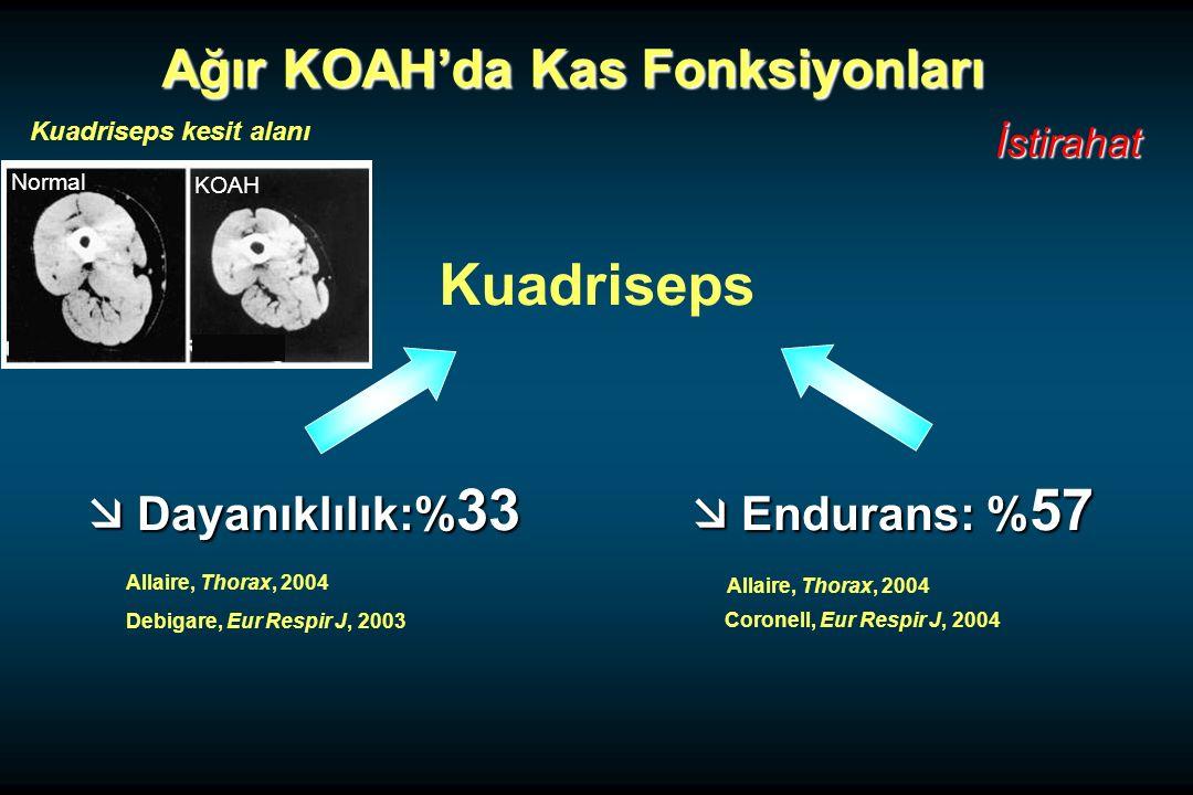 Ağır KOAH'da Kas Fonksiyonları Ağır KOAH'da Kas Fonksiyonları İstirahat  Dayanıklılık:% 33  Endurans: % 57 Kuadriseps Allaire, Thorax, 2004 Debigare, Eur Respir J, 2003 Allaire, Thorax, 2004 Coronell, Eur Respir J, 2004 KOAH Normal Kuadriseps kesit alanı