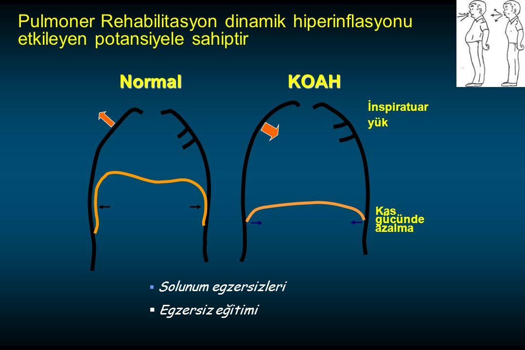 Pulmoner Rehabilitasyon dinamik hiperinflasyonu etkileyen potansiyele sahiptir  Solunum egzersizleri  Egzersiz eğitimiNormalKOAH İnspiratuar yük Kas gücünde azalma
