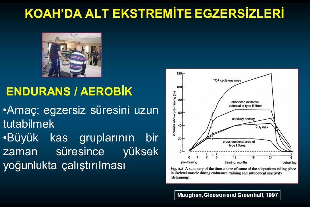 KOAH'DA ALT EKSTREMİTE EGZERSİZLERİ ENDURANS / AEROBİK Amaç; egzersiz süresini uzun tutabilmek Büyük kas gruplarının bir zaman süresince yüksek yoğunlukta çalıştırılması Maughan, Gleeson and Greenhaff, 1997