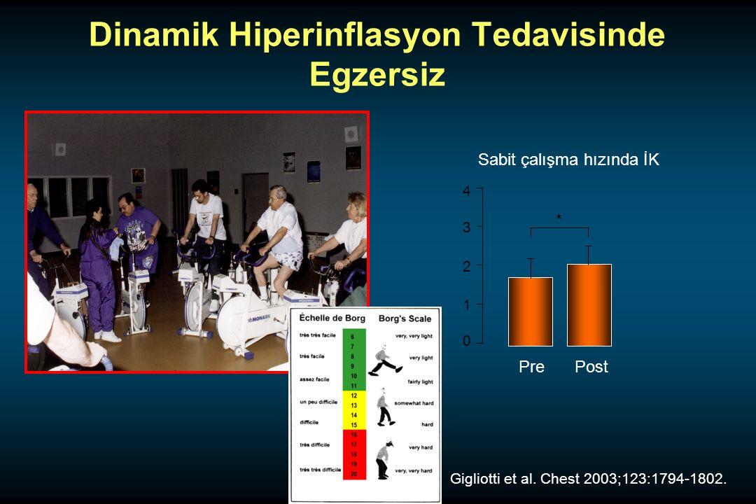0 1 2 3 4 PrePost Sabit çalışma hızında İK * Dinamik Hiperinflasyon Tedavisinde Egzersiz Gigliotti et al.