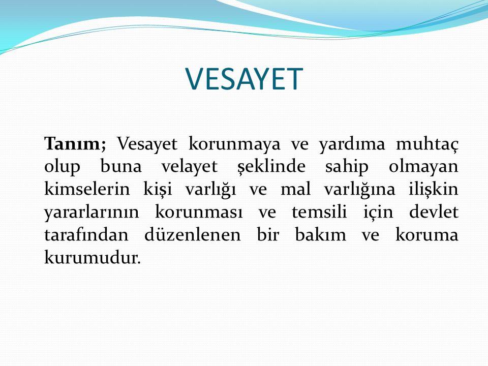 VESAYET Sulh Mahkemesi; - Vasinin atanması - Vasinin görevden alınması - Vasiye emir ve talimat verme - Vasiyi denetleme - Vasiye yardımcı olma ve yol gösterme görevlerini yerine getirir.