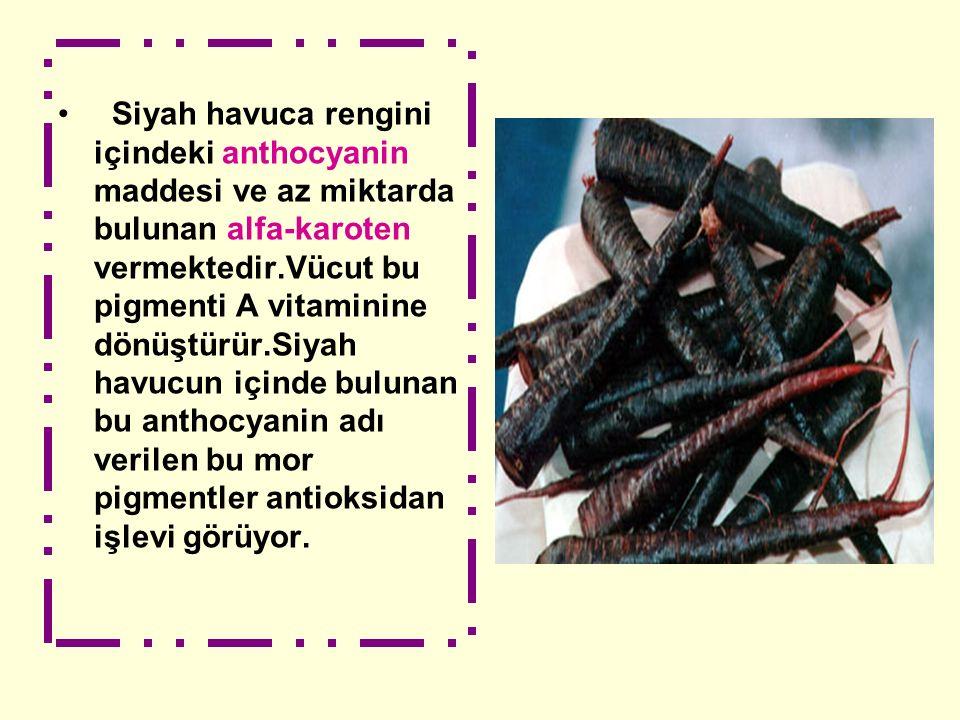 Siyah havuca rengini içindeki anthocyanin maddesi ve az miktarda bulunan alfa-karoten vermektedir.Vücut bu pigmenti A vitaminine dönüştürür.Siyah havu