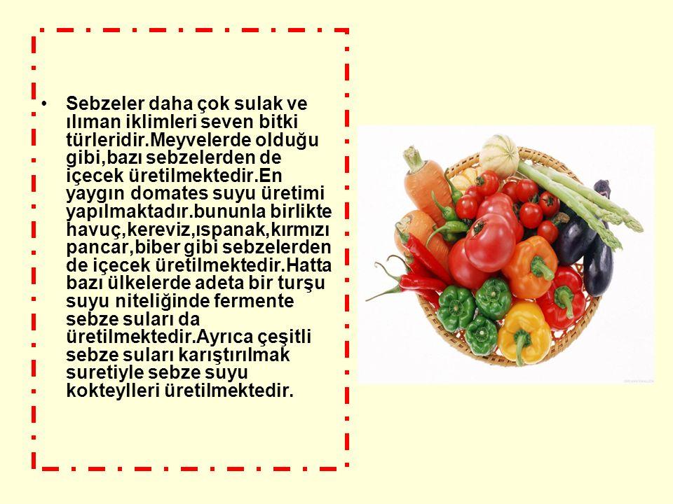Sebzeler daha çok sulak ve ılıman iklimleri seven bitki türleridir.Meyvelerde olduğu gibi,bazı sebzelerden de içecek üretilmektedir.En yaygın domates