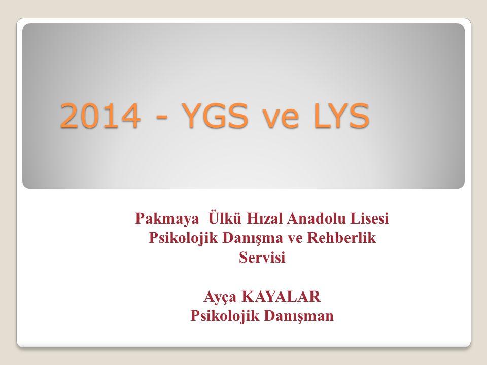 2014 - YGS ve LYS 2014 - YGS ve LYS Pakmaya Ülkü Hızal Anadolu Lisesi Psikolojik Danışma ve Rehberlik Servisi Ayça KAYALAR Psikolojik Danışman