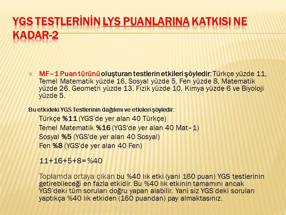  MF–1 Puan türünü oluşturan testlerin etkileri şöyledir: Türkçe yüzde 11, Temel Matematik yüzde 16, Sosyal yüzde 5, Fen yüzde 8, Matematik yüzde 26,