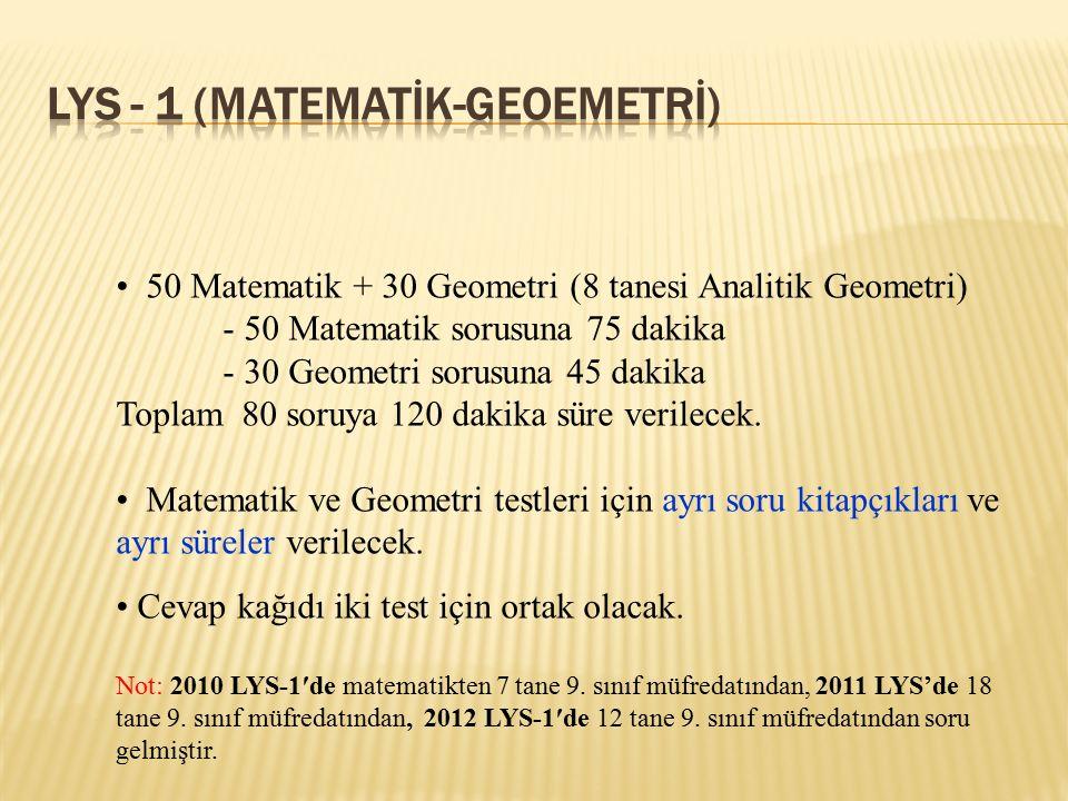 50 Matematik + 30 Geometri (8 tanesi Analitik Geometri) - 50 Matematik sorusuna 75 dakika - 30 Geometri sorusuna 45 dakika Toplam 80 soruya 120 dakika
