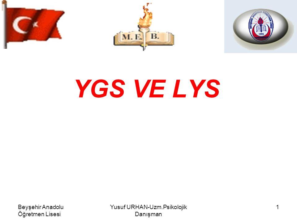 Beyşehir Anadolu Öğretmen Lisesi Yusuf URHAN-Uzm.Psikolojik Danışman 1 YGS VE LYS