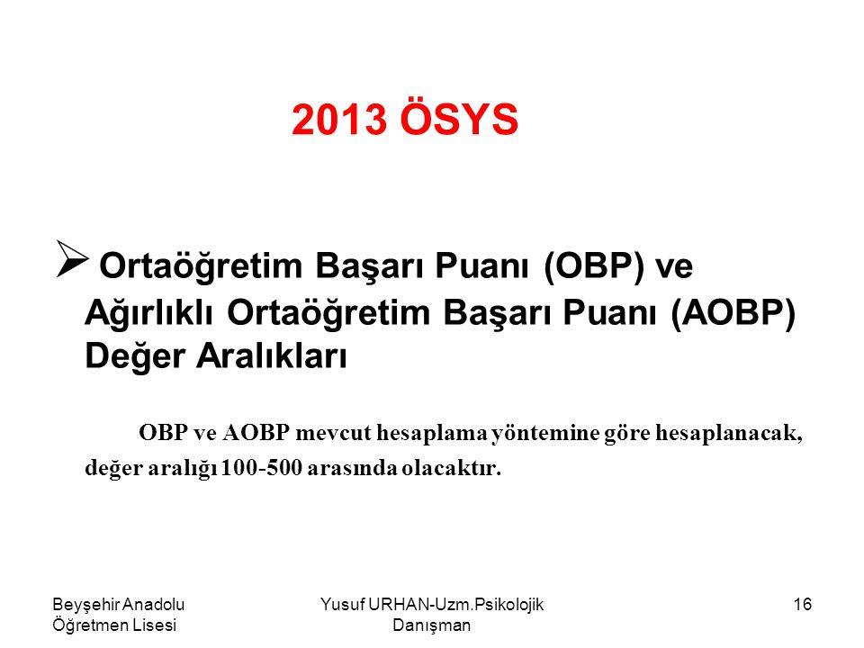 Beyşehir Anadolu Öğretmen Lisesi Yusuf URHAN-Uzm.Psikolojik Danışman 16 2013 ÖSYS  Ortaöğretim Başarı Puanı (OBP) ve Ağırlıklı Ortaöğretim Başarı Puanı (AOBP) Değer Aralıkları OBP ve AOBP mevcut hesaplama yöntemine göre hesaplanacak, değer aralığı 100-500 arasında olacaktır.