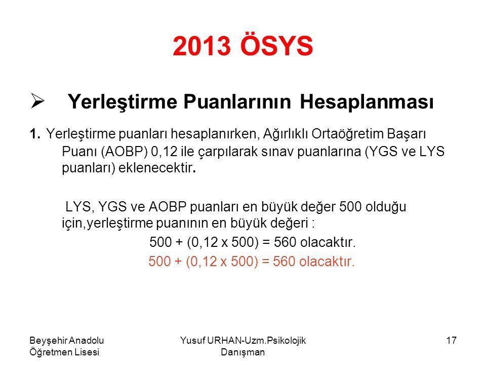 Beyşehir Anadolu Öğretmen Lisesi Yusuf URHAN-Uzm.Psikolojik Danışman 17 2013 ÖSYS  Y Yerleştirme Puanlarının Hesaplanması 1.