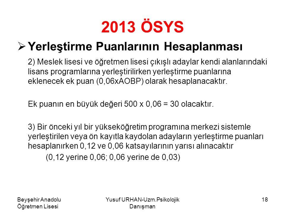 Beyşehir Anadolu Öğretmen Lisesi Yusuf URHAN-Uzm.Psikolojik Danışman 18 2013 ÖSYS YYerleştirme Puanlarının Hesaplanması 2) Meslek lisesi ve öğretmen lisesi çıkışlı adaylar kendi alanlarındaki lisans programlarına yerleştirilirken yerleştirme puanlarına eklenecek ek puan (0,06xAOBP) olarak hesaplanacaktır.