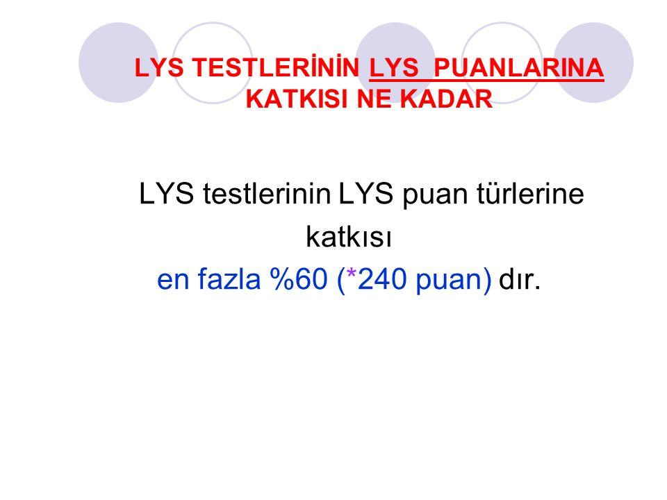 LYS TESTLERİNİN LYS PUANLARINA KATKISI NE KADAR LYS testlerinin LYS puan türlerine katkısı en fazla %60 (*240 puan) dır.