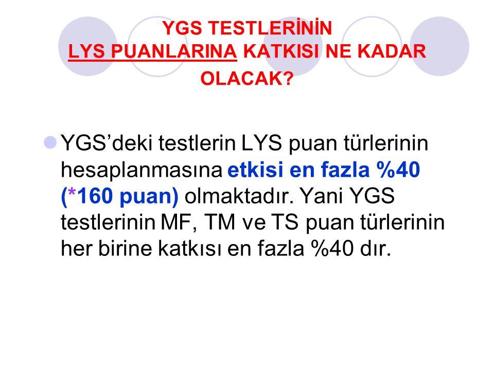YGS TESTLERİNİN LYS PUANLARINA KATKISI NE KADAR OLACAK? YGS'deki testlerin LYS puan türlerinin hesaplanmasına etkisi en fazla %40 (*160 puan) olmaktad